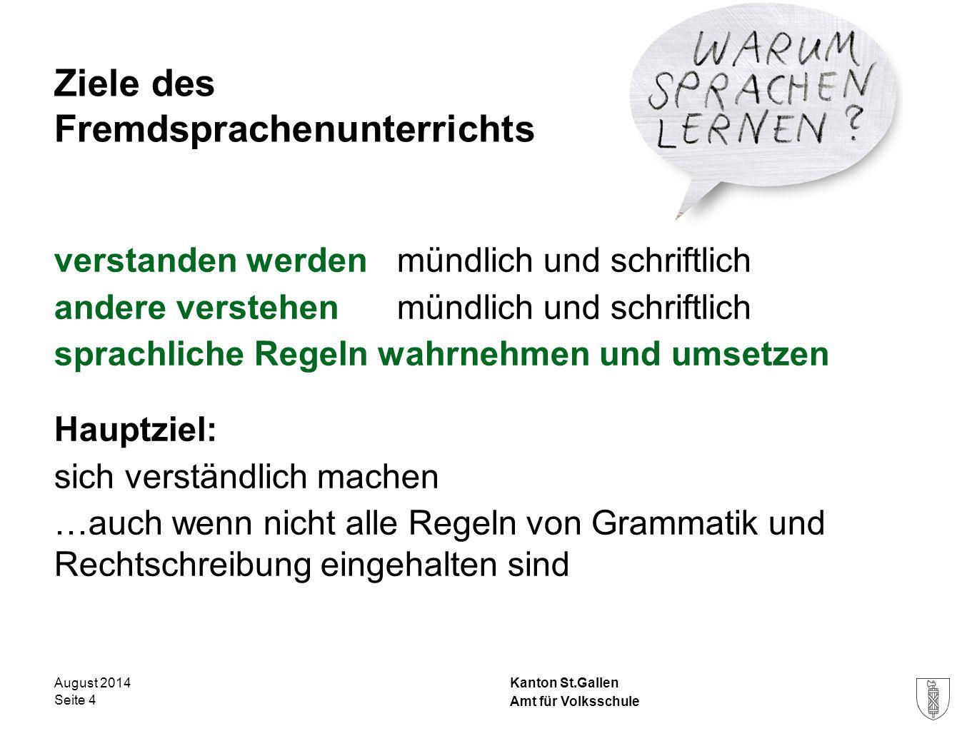 Kanton St.Gallen verstanden werden mündlich und schriftlich andere verstehenmündlich und schriftlich sprachliche Regeln wahrnehmen und umsetzen Hauptz