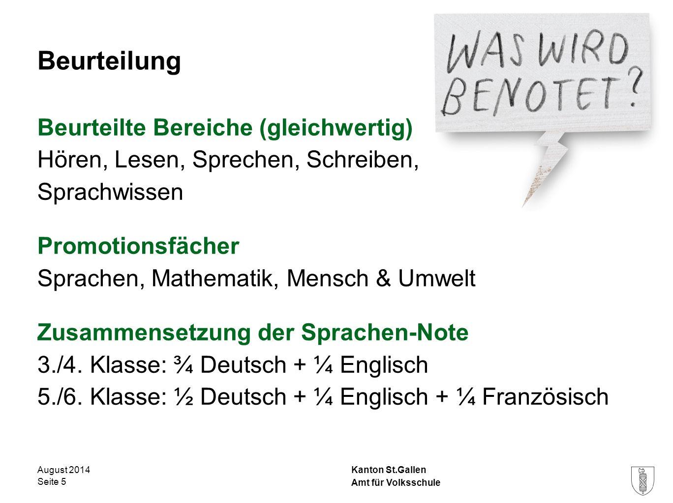 Kanton St.Gallen Beurteilung Beurteilte Bereiche (gleichwertig) Hören, Lesen, Sprechen, Schreiben, Sprachwissen Promotionsfächer Sprachen, Mathematik,