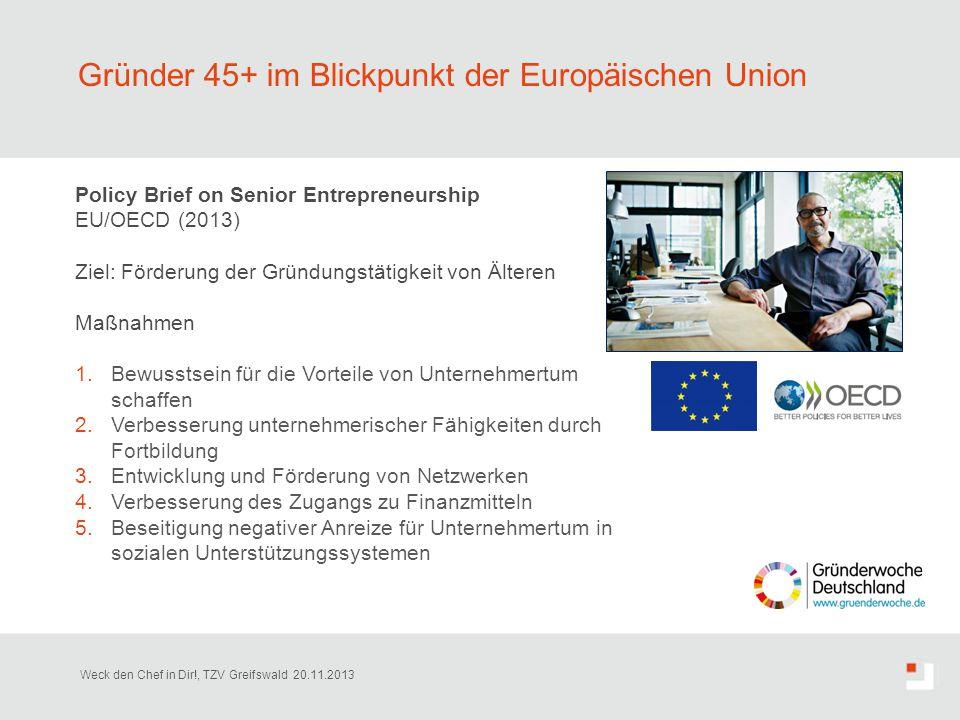 Gründer 45+ im Blickpunkt der Europäischen Union Policy Brief on Senior Entrepreneurship EU/OECD (2013) Ziel: Förderung der Gründungstätigkeit von Ält