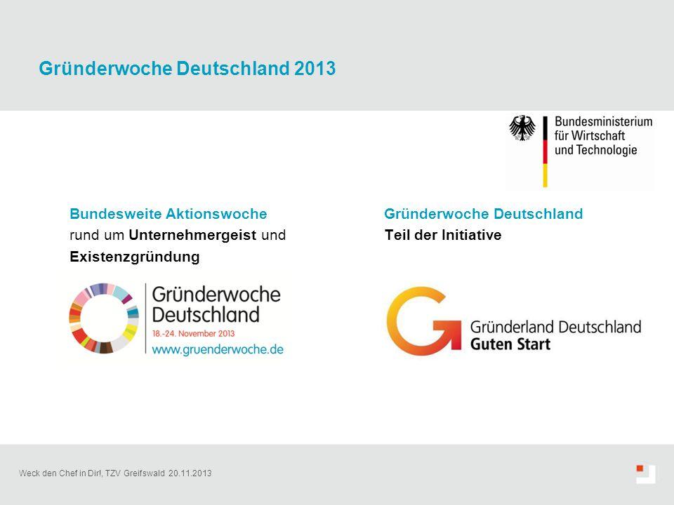 Weck den Chef in Dir!, TZV Greifswald 20.11.2013 Gründerwoche Deutschland 2013 Bundesweite Aktionswoche rund um Unternehmergeist und Existenzgründung