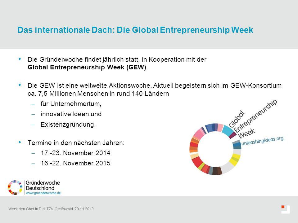 Weck den Chef in Dir!, TZV Greifswald 20.11.2013 Die Gründerwoche findet jährlich statt, in Kooperation mit der Global Entrepreneurship Week (GEW). Di
