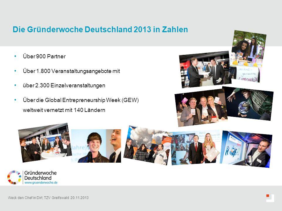 Weck den Chef in Dir!, TZV Greifswald 20.11.2013 Über 900 Partner Über 1.800 Veranstaltungsangebote mit über 2.300 Einzelveranstaltungen Über die Glob
