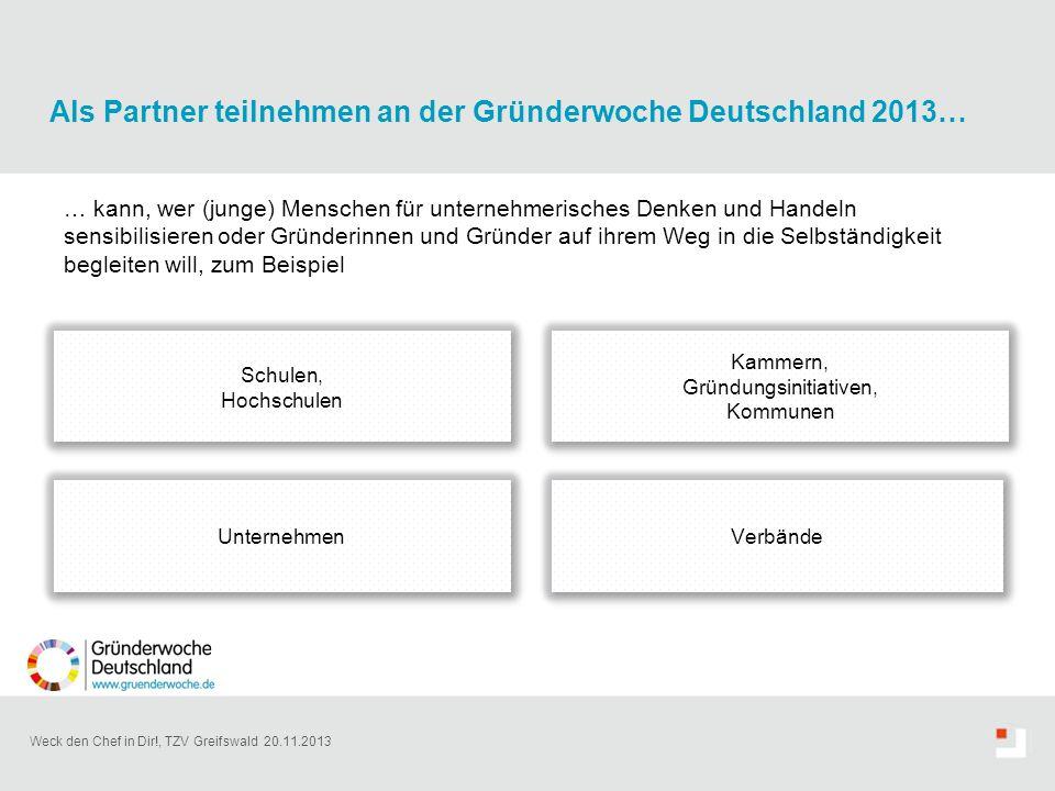 Weck den Chef in Dir!, TZV Greifswald 20.11.2013 Als Partner teilnehmen an der Gründerwoche Deutschland 2013… … kann, wer (junge) Menschen für unterne