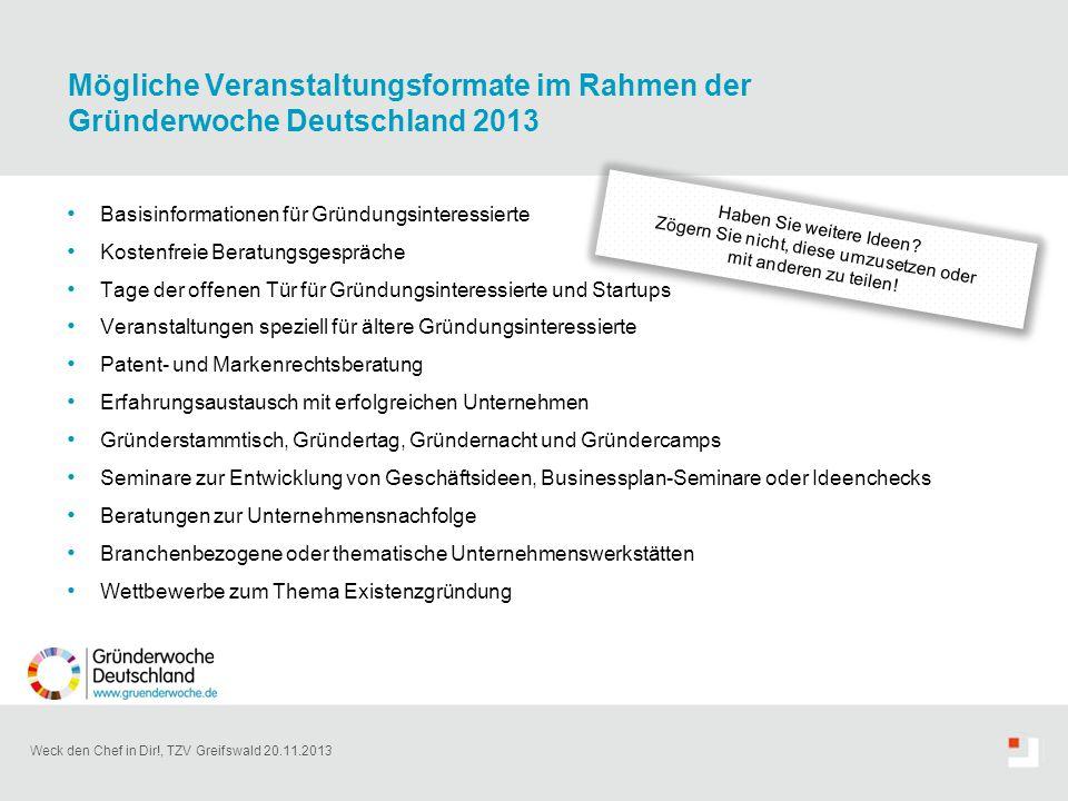 Weck den Chef in Dir!, TZV Greifswald 20.11.2013 Basisinformationen für Gründungsinteressierte Kostenfreie Beratungsgespräche Tage der offenen Tür für