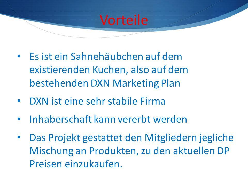 Vorteile Es ist ein Sahnehäubchen auf dem existierenden Kuchen, also auf dem bestehenden DXN Marketing Plan DXN ist eine sehr stabile Firma Inhabersch
