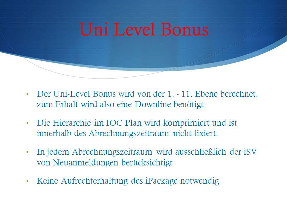 Uni Level Bonus Der Uni-Level Bonus wird von der 1. - 11. Ebene berechnet, zum Erhalt wird also eine Downline benötigt Die Hierarchie im IOC Plan wird
