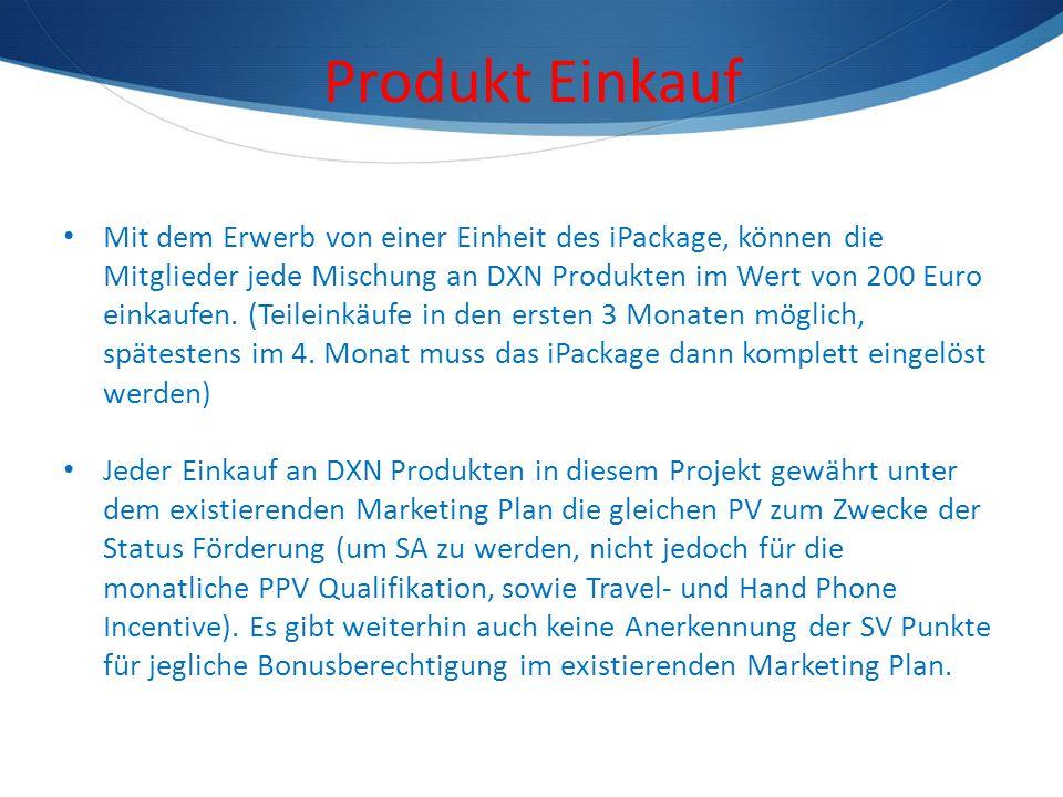 Produkt Einkauf Mit dem Erwerb von einer Einheit des iPackage, können die Mitglieder jede Mischung an DXN Produkten im Wert von 200 Euro einkaufen. (T
