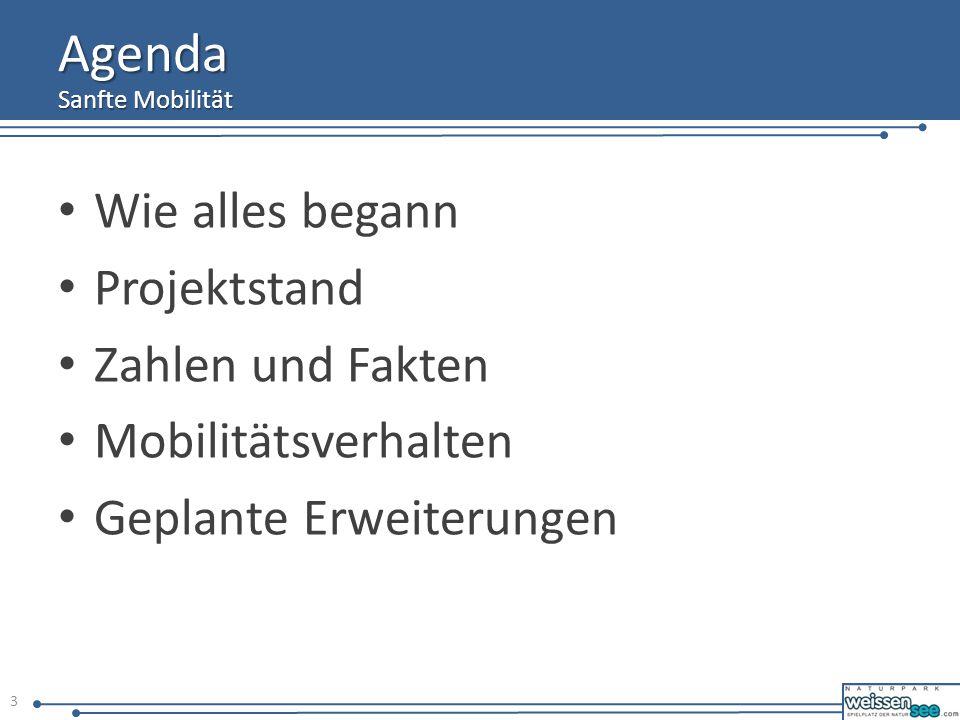 Agenda Wie alles begann Projektstand Zahlen und Fakten Mobilitätsverhalten Geplante Erweiterungen Sanfte Mobilität 3