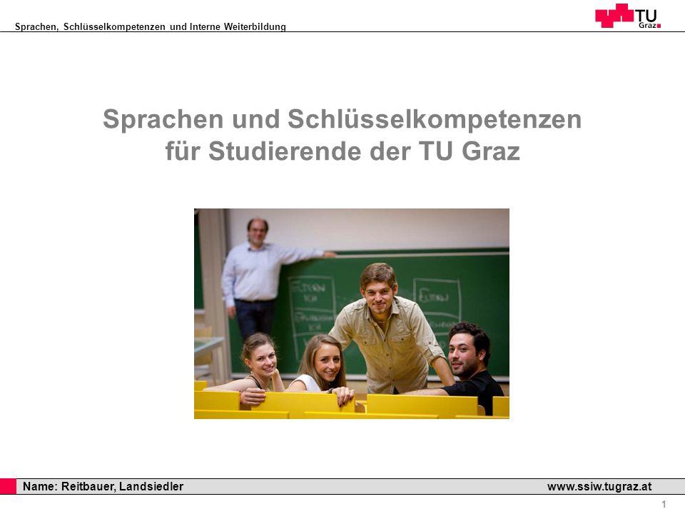 Sprachen, Schlüsselkompetenzen und Interne Weiterbildung Professor Horst Cerjak, 19.12.2005 1 Name: Reitbauer, Landsiedler www.ssiw.tugraz.at Sprachen