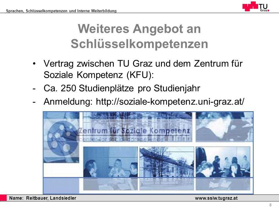 Sprachen, Schlüsselkompetenzen und Interne Weiterbildung Professor Horst Cerjak, 19.12.2005 8 Name: Reitbauer, Landsiedler www.ssiw.tugraz.at Weiteres