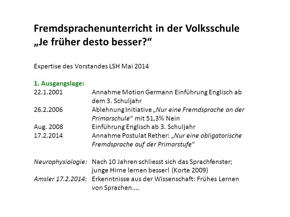 """Fremdsprachenunterricht in der Volksschule """"Je früher desto besser?"""" Expertise des Vorstandes LSH Mai 2014 1. Ausgangslage: 22.1.2001Annahme Motion Ge"""