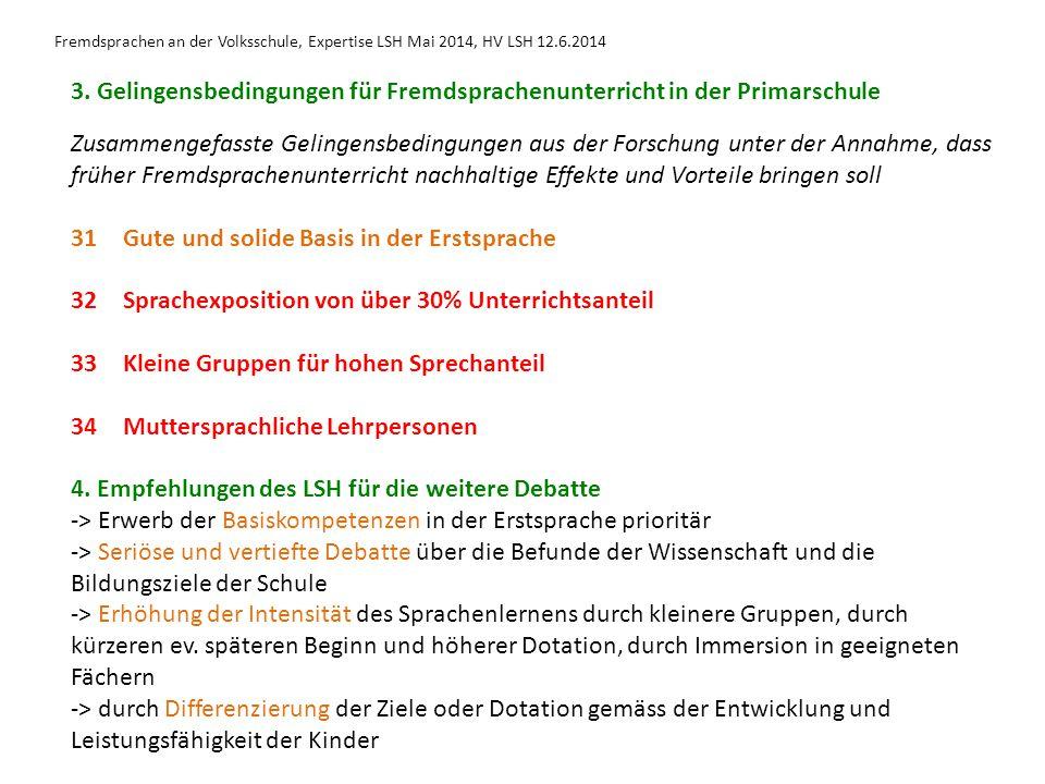 Fremdsprachen an der Volksschule, Expertise LSH Mai 2014, HV LSH 12.6.2014 3. Gelingensbedingungen für Fremdsprachenunterricht in der Primarschule Zus