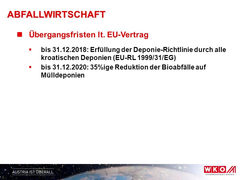 CHANCEN (EU–Schwerpunkte)  Errichtung von 12 - 13 Abfallwirtschaftszentren 1 (Gespanschaft/überregional): ca.