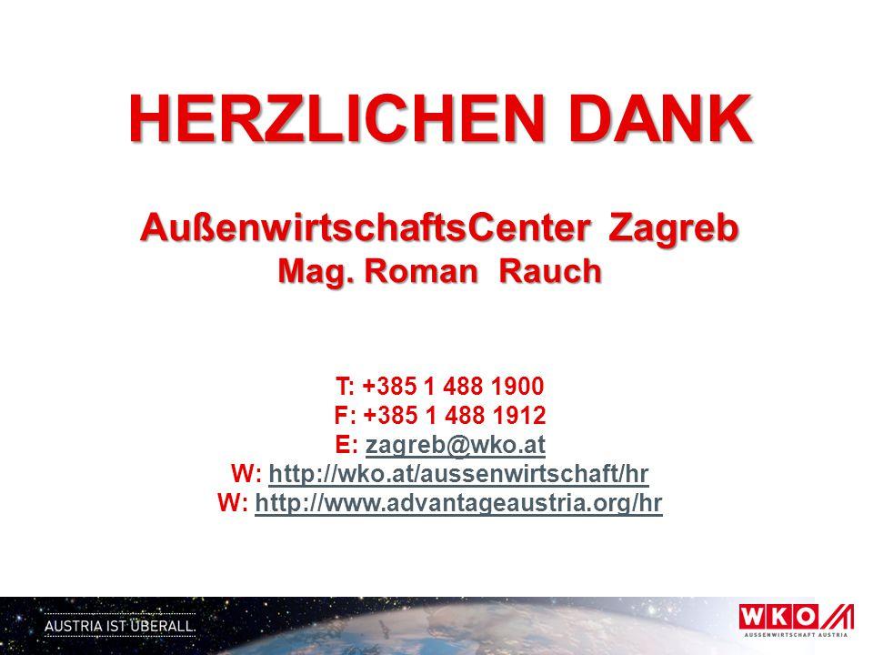 HERZLICHEN DANK AußenwirtschaftsCenter Zagreb Mag.