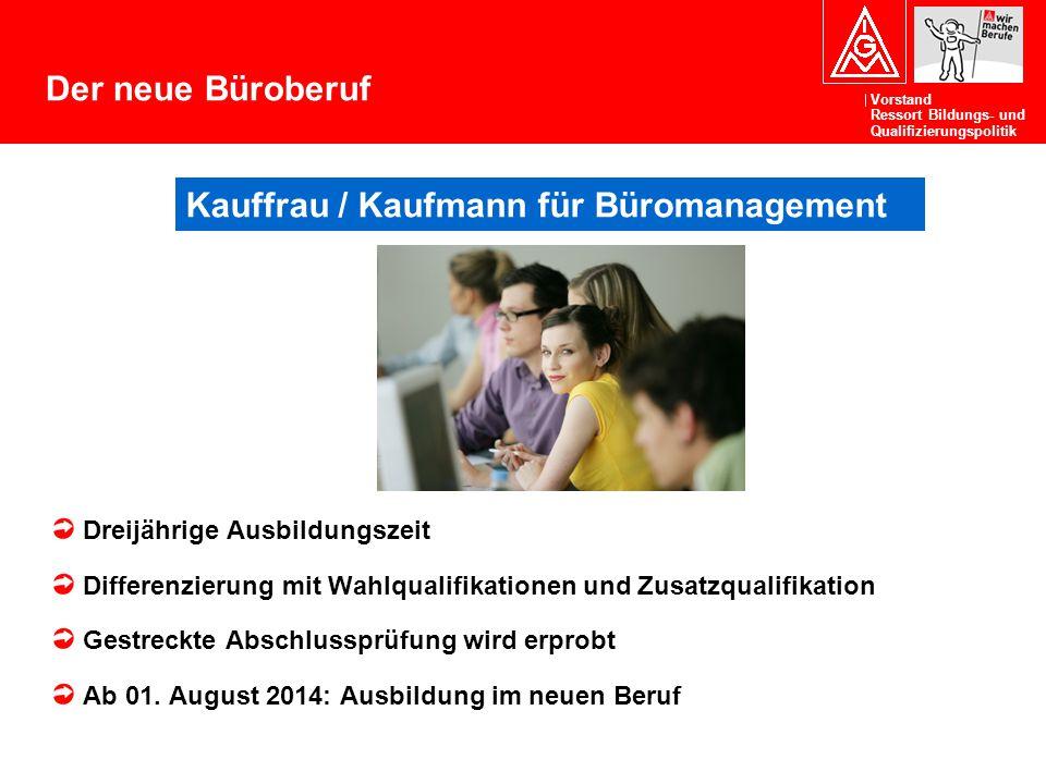 Vorstand Ressort Bildungs- und Qualifizierungspolitik Der neue Büroberuf Dreijährige Ausbildungszeit Differenzierung mit Wahlqualifikationen und Zusat