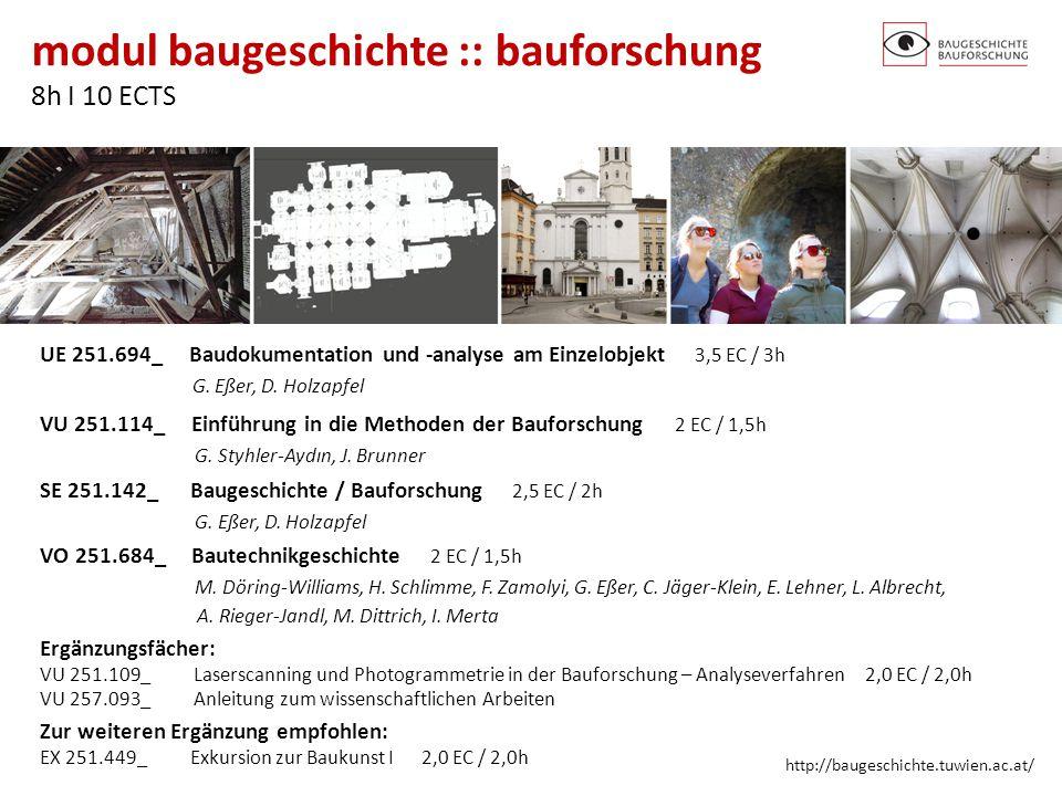 modul baugeschichte :: bauforschung 8h I 10 ECTS http://baugeschichte.tuwien.ac.at/ UE 251.694_ Baudokumentation und -analyse am Einzelobjekt 3,5 EC /