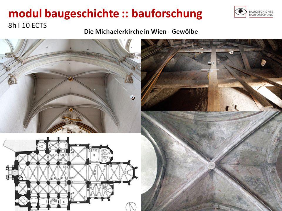 modul baugeschichte :: bauforschung 8h I 10 ECTS http://baugeschichte.tuwien.ac.at/ Die Michaelerkirche in Wien - Gewölbe