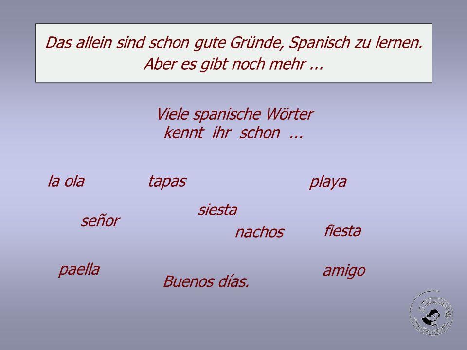 Das allein sind schon gute Gründe, Spanisch zu lernen. Aber es gibt noch mehr... Viele spanische Wörter kennt ihr schon... la ola tapas playa siesta n