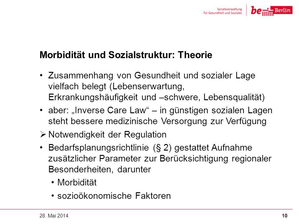 Morbidität und Sozialstruktur: Theorie Zusammenhang von Gesundheit und sozialer Lage vielfach belegt (Lebenserwartung, Erkrankungshäufigkeit und –schw