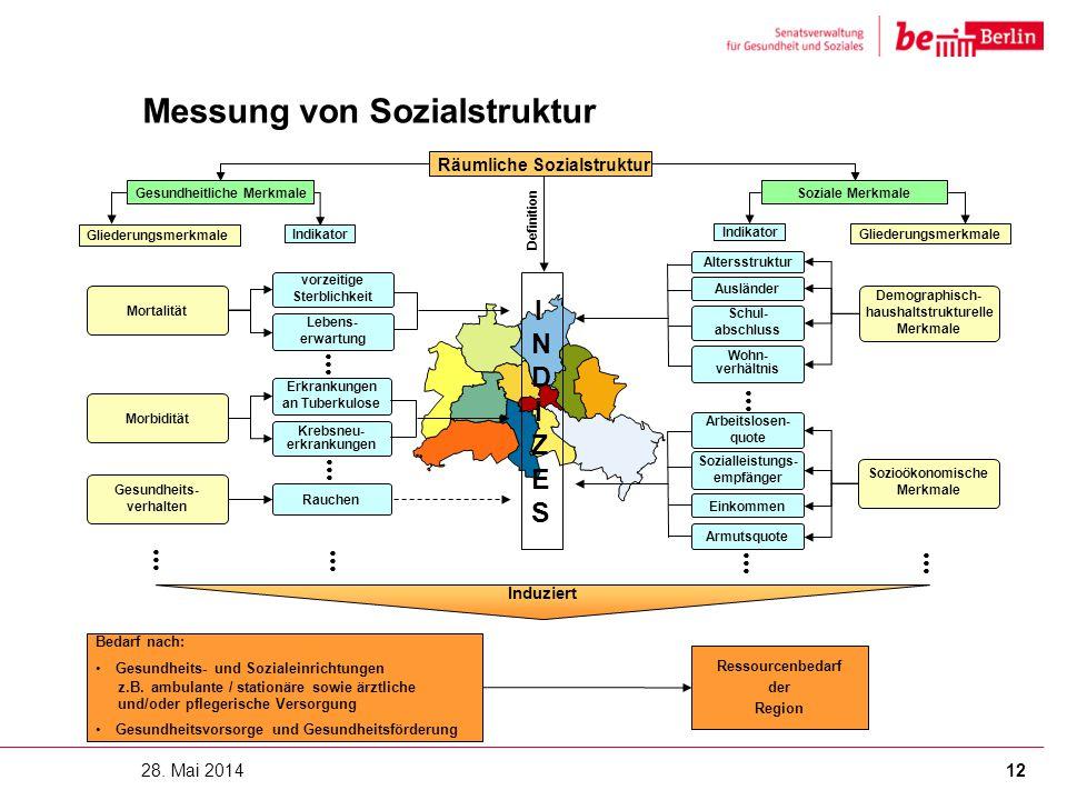 Messung von Sozialstruktur 28. Mai 201412 INDIZESINDIZES Induziert Bedarf nach: Gesundheits- und Sozialeinrichtungen z.B.ambulante / stationäre sowie