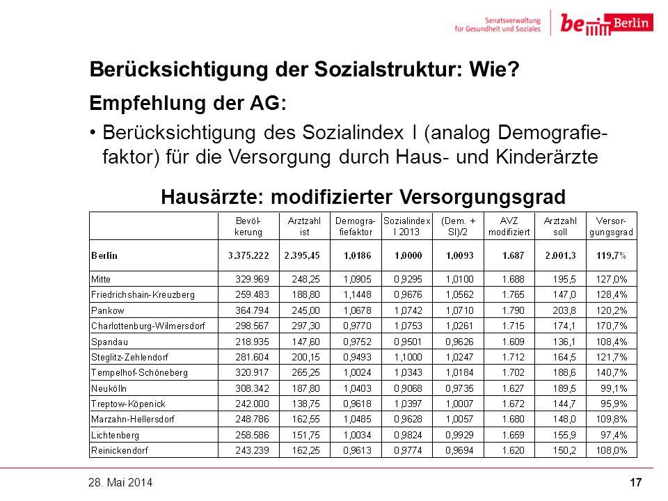 Berücksichtigung der Sozialstruktur: Wie? Empfehlung der AG: Berücksichtigung des Sozialindex I (analog Demografie- faktor) für die Versorgung durch H