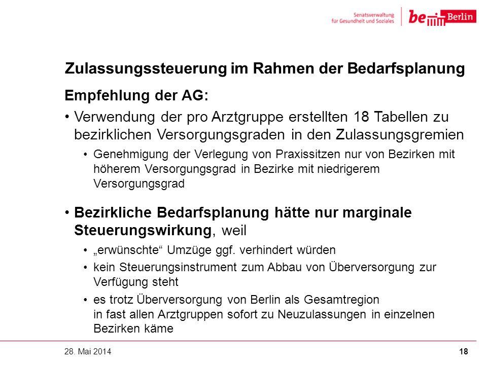 Zulassungssteuerung im Rahmen der Bedarfsplanung Empfehlung der AG: Verwendung der pro Arztgruppe erstellten 18 Tabellen zu bezirklichen Versorgungsgr