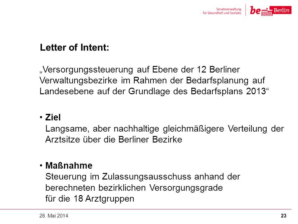 """Letter of Intent: """"Versorgungssteuerung auf Ebene der 12 Berliner Verwaltungsbezirke im Rahmen der Bedarfsplanung auf Landesebene auf der Grundlage de"""
