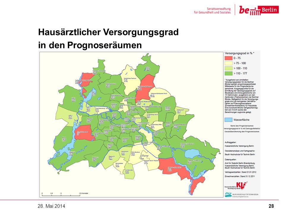 28. Mai 2014 Hausärztlicher Versorgungsgrad in den Prognoseräumen 28
