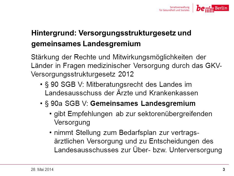 Hintergrund: Versorgungsstrukturgesetz und gemeinsames Landesgremium 28. Mai 20143 Stärkung der Rechte und Mitwirkungsmöglichkeiten der Länder in Frag