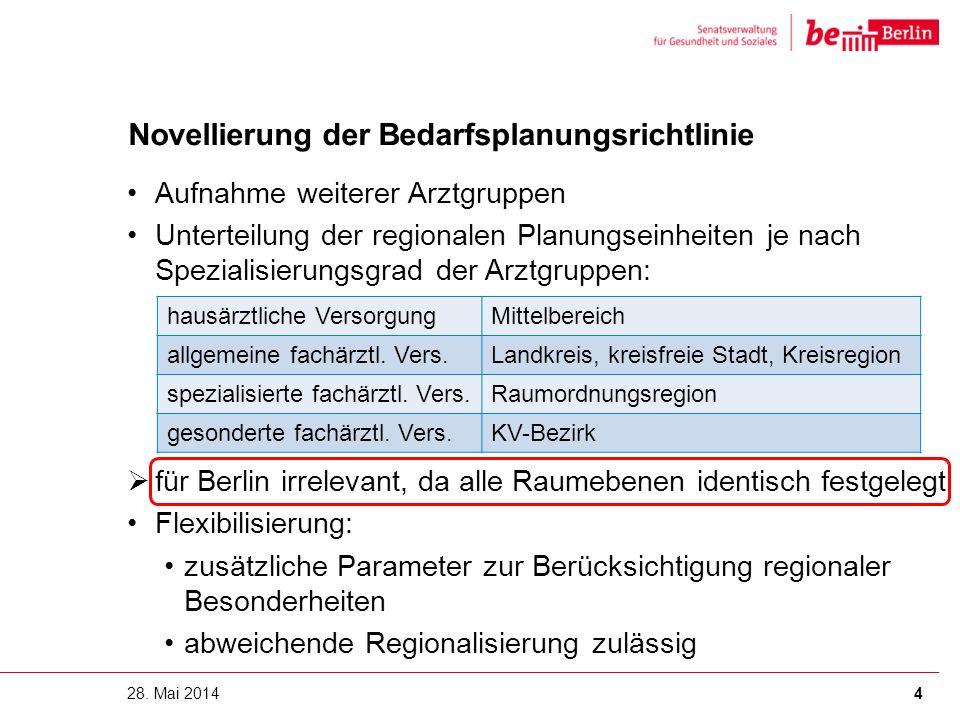 Novellierung der Bedarfsplanungsrichtlinie Aufnahme weiterer Arztgruppen Unterteilung der regionalen Planungseinheiten je nach Spezialisierungsgrad de