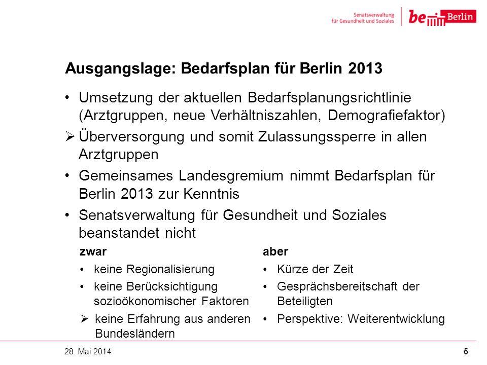 Ausgangslage: Bedarfsplan für Berlin 2013 Umsetzung der aktuellen Bedarfsplanungsrichtlinie (Arztgruppen, neue Verhältniszahlen, Demografiefaktor)  Ü