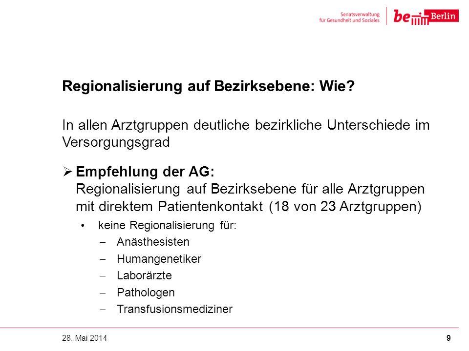 Regionalisierung auf Bezirksebene: Wie? In allen Arztgruppen deutliche bezirkliche Unterschiede im Versorgungsgrad  Empfehlung der AG: Regionalisieru