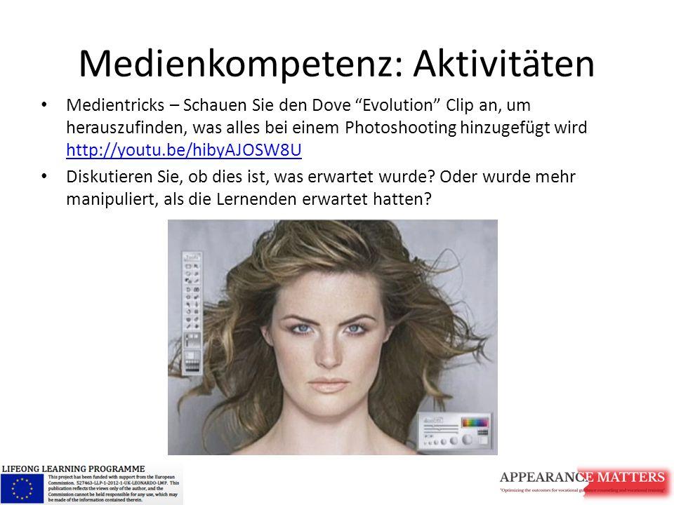 """Medienkompetenz: Aktivitäten Medientricks – Schauen Sie den Dove """"Evolution"""" Clip an, um herauszufinden, was alles bei einem Photoshooting hinzugefügt"""