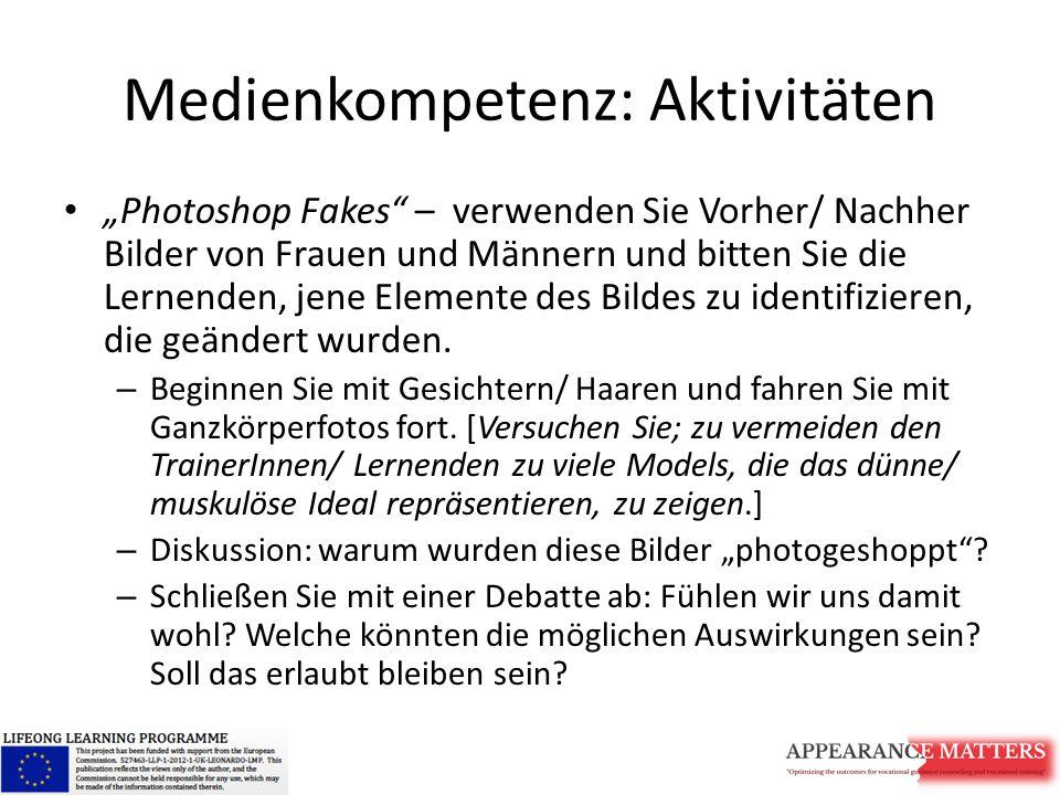"""Medienkompetenz: Aktivitäten """"Photoshop Fakes"""" – verwenden Sie Vorher/ Nachher Bilder von Frauen und Männern und bitten Sie die Lernenden, jene Elemen"""