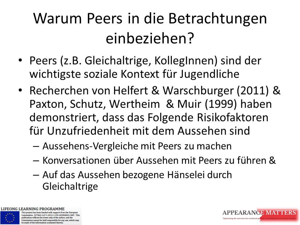Warum Peers in die Betrachtungen einbeziehen? Peers (z.B. Gleichaltrige, KollegInnen) sind der wichtigste soziale Kontext für Jugendliche Recherchen v