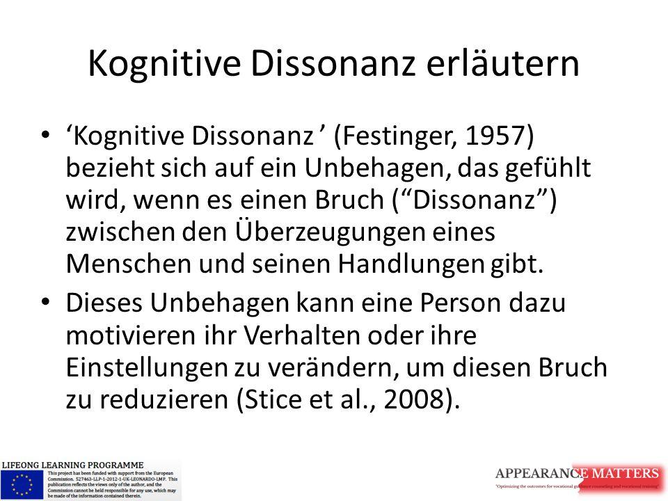 """Kognitive Dissonanz erläutern 'Kognitive Dissonanz ' (Festinger, 1957) bezieht sich auf ein Unbehagen, das gefühlt wird, wenn es einen Bruch (""""Dissona"""