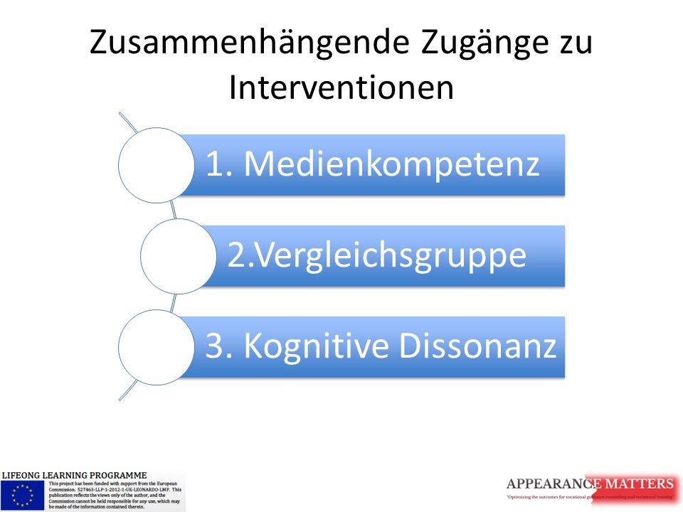 Zusammenhängende Zugänge zu Interventionen 1. Medienkompetenz 2.Vergleichsgruppe 3. Kognitive Dissonanz