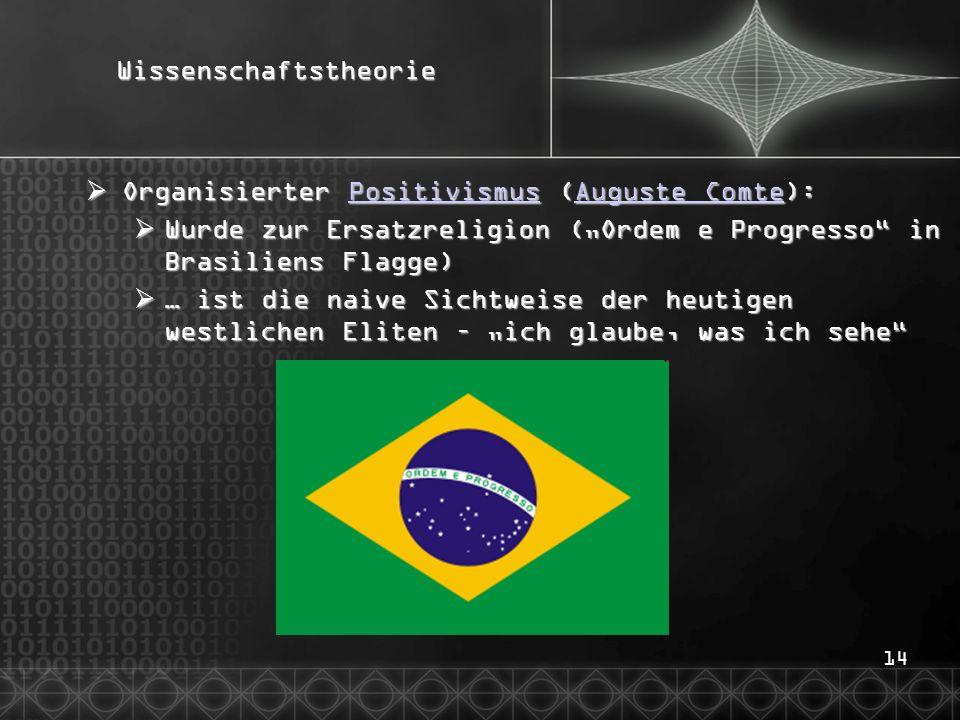 """14Wissenschaftstheorie  Organisierter Positivismus (Auguste Comte): PositivismusAuguste ComtePositivismusAuguste Comte  Wurde zur Ersatzreligion (""""O"""