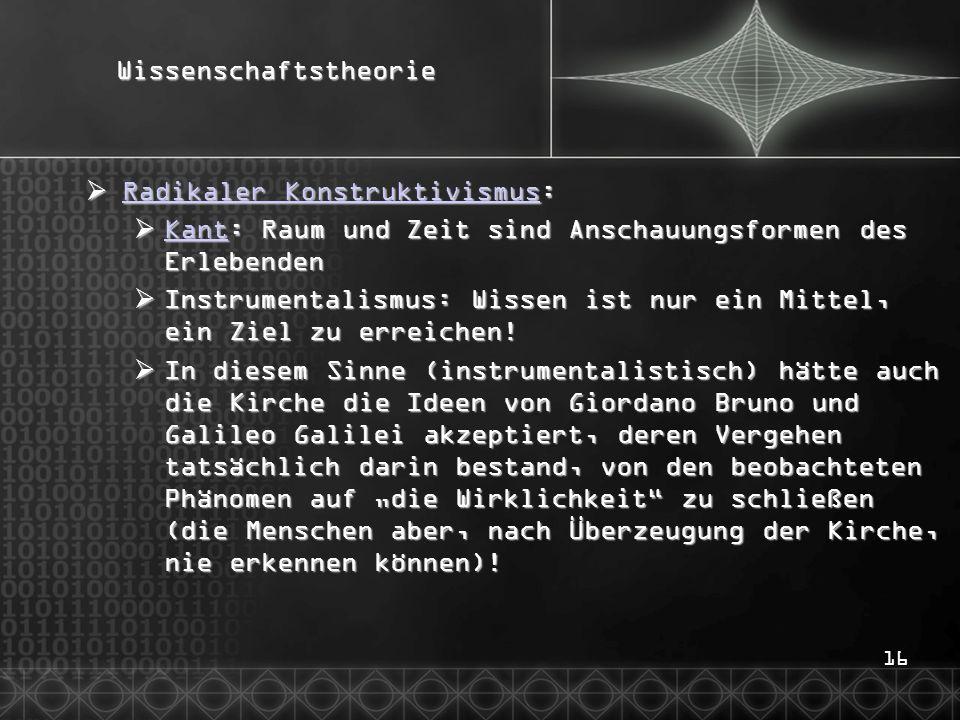 16Wissenschaftstheorie  Radikaler Konstruktivismus: Radikaler Konstruktivismus Radikaler Konstruktivismus  Kant: Raum und Zeit sind Anschauungsforme