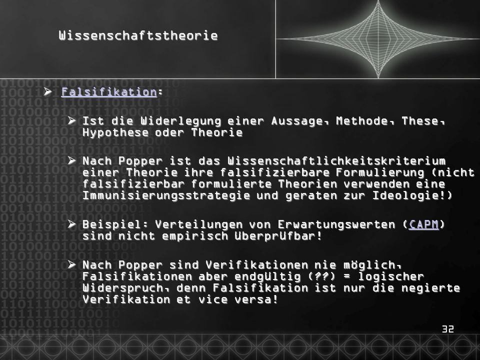 32Wissenschaftstheorie  Falsifikation: Falsifikation  Ist die Widerlegung einer Aussage, Methode, These, Hypothese oder Theorie  Nach Popper ist da