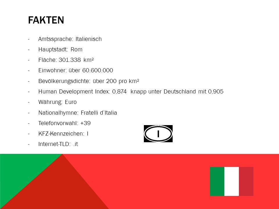 FAKTEN -Amtssprache: Italienisch -Hauptstadt: Rom -Fläche: 301.338 km² -Einwohner: über 60.600.000 -Bevölkerungsdichte: über 200 pro km² -Human Development Index: 0,874 knapp unter Deutschland mit 0,905 -Währung: Euro -Nationalhymne: Fratelli d'Italia -Telefonvorwahl: +39 -KFZ-Kennzeichen: I -Internet-TLD:.it