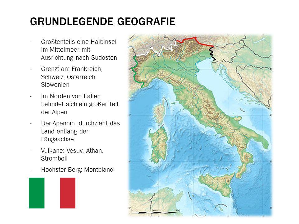KLIMA IN ITALIEN -Italien liegt in der warmgemäßigten Klimazone -Temperaturen von 40 / -10 Grad große regionale Unterschiede -Norditalien (Poebene) ist von den Alpen und dem Apennin umgeben -Sehr geringer maritimer Einfluss -Temperaturen im Sommer sehr hoch – im Winter teilweise sogar Schneefall -Mittel- und Süditalien mit maritimen Einfluss -Von Norden nach Süden werden die Temperaturen immer milder -D.h.