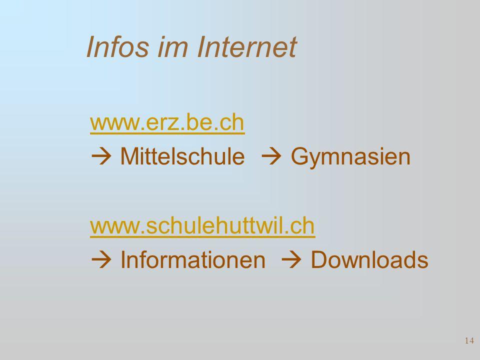 Infos im Internet www.erz.be.ch  Mittelschule  Gymnasien www.schulehuttwil.ch  Informationen  Downloads 14