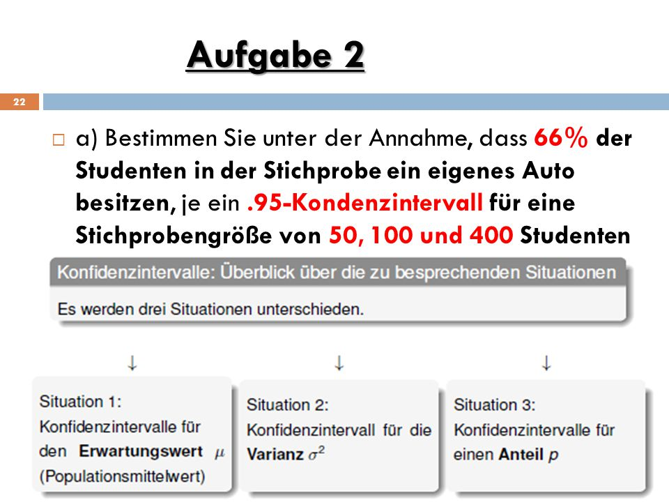 Aufgabe 2 22  a) Bestimmen Sie unter der Annahme, dass 66% der Studenten in der Stichprobe ein eigenes Auto besitzen, je ein.95-Kondenzintervall für eine Stichprobengröße von 50, 100 und 400 Studenten