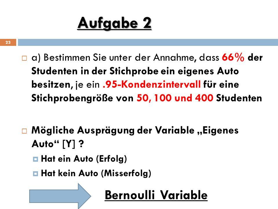 """Aufgabe 2 23  a) Bestimmen Sie unter der Annahme, dass 66% der Studenten in der Stichprobe ein eigenes Auto besitzen, je ein.95-Kondenzintervall für eine Stichprobengröße von 50, 100 und 400 Studenten  Mögliche Ausprägung der Variable """"Eigenes Auto [Y] ."""