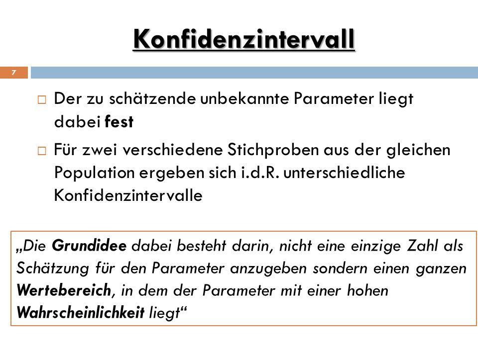 Konfidenzintervall 7  Der zu schätzende unbekannte Parameter liegt dabei fest  Für zwei verschiedene Stichproben aus der gleichen Population ergeben sich i.d.R.