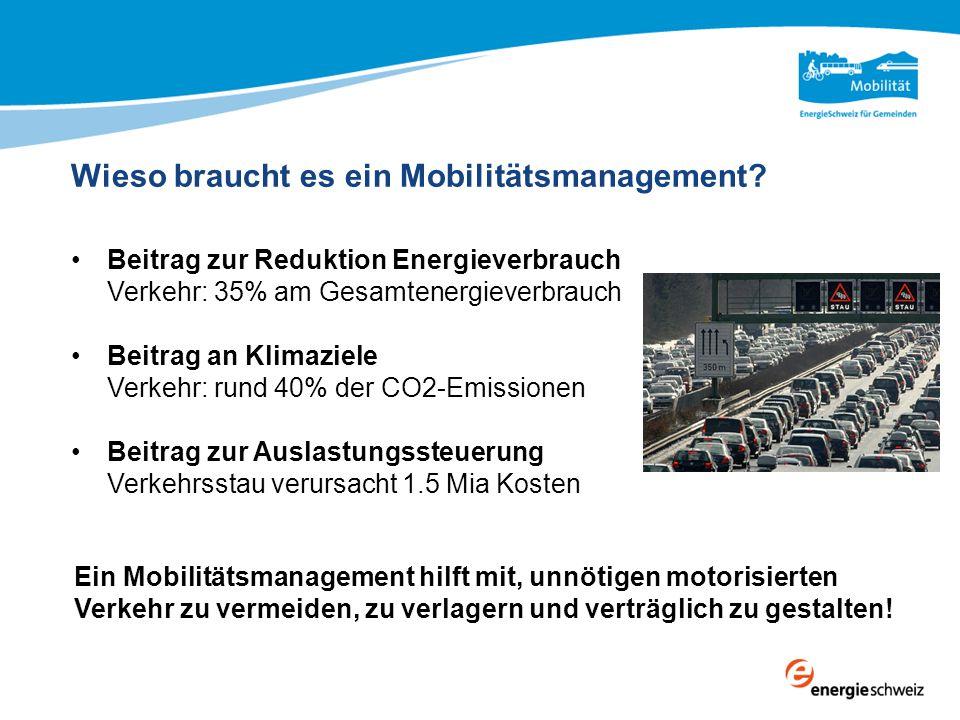 Wieso braucht es ein Mobilitätsmanagement? Beitrag zur Reduktion Energieverbrauch Verkehr: 35% am Gesamtenergieverbrauch Beitrag an Klimaziele Verkehr