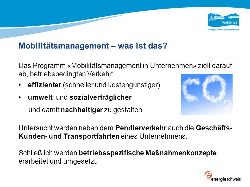 Mobilitätsmanagement – was ist das? Das Programm «Mobilitätsmanagement in Unternehmen» zielt darauf ab, betriebsbedingten Verkehr: effizienter (schnel