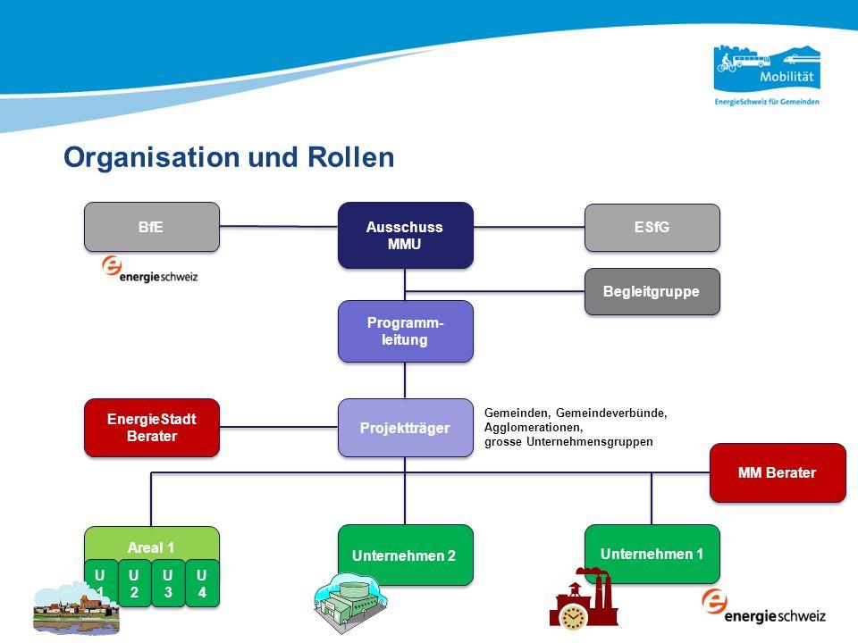 Organisation und Rollen Ausschuss MMU Programm- leitung Projektträger Unternehmen 1 Unternehmen 2 Areal 1 ESfG BfE Begleitgruppe EnergieStadt Berater