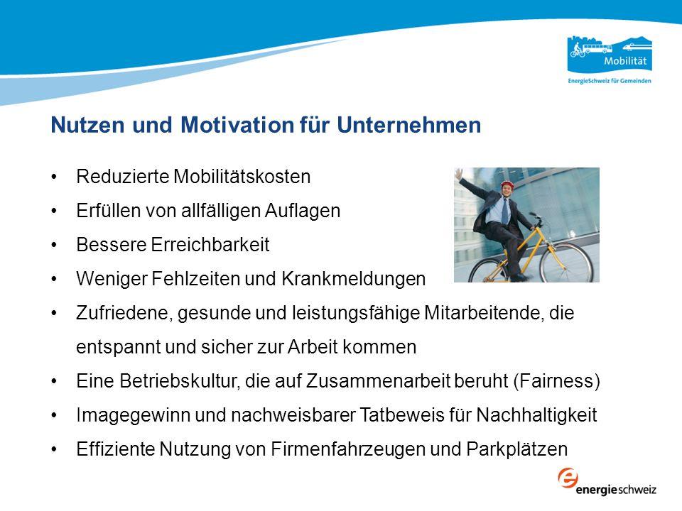 Nutzen und Motivation für Unternehmen Reduzierte Mobilitätskosten Erfüllen von allfälligen Auflagen Bessere Erreichbarkeit Weniger Fehlzeiten und Kran